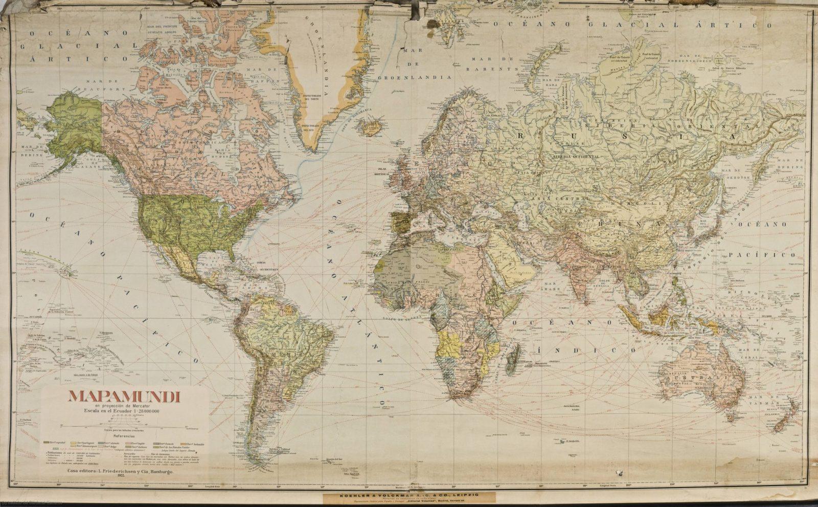 Cuadros Impresos Lienzo Mapas Planisferio Mapamundi 120x80cm