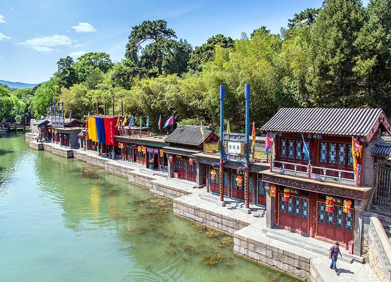 Recreación de una calle del pueblo de Suzhou, Palacio de Verano. Pekin