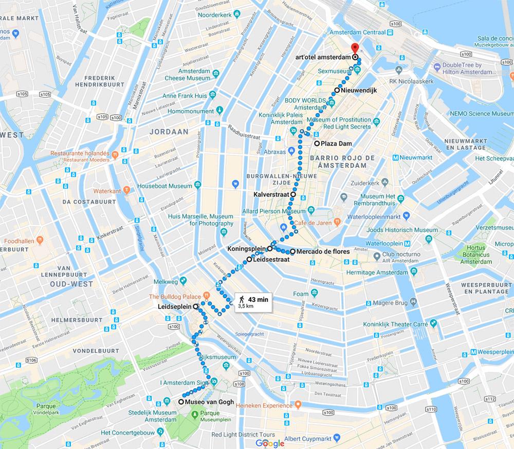 Que ver en Ámsterdam en 2 días. Mapa Amsterdam