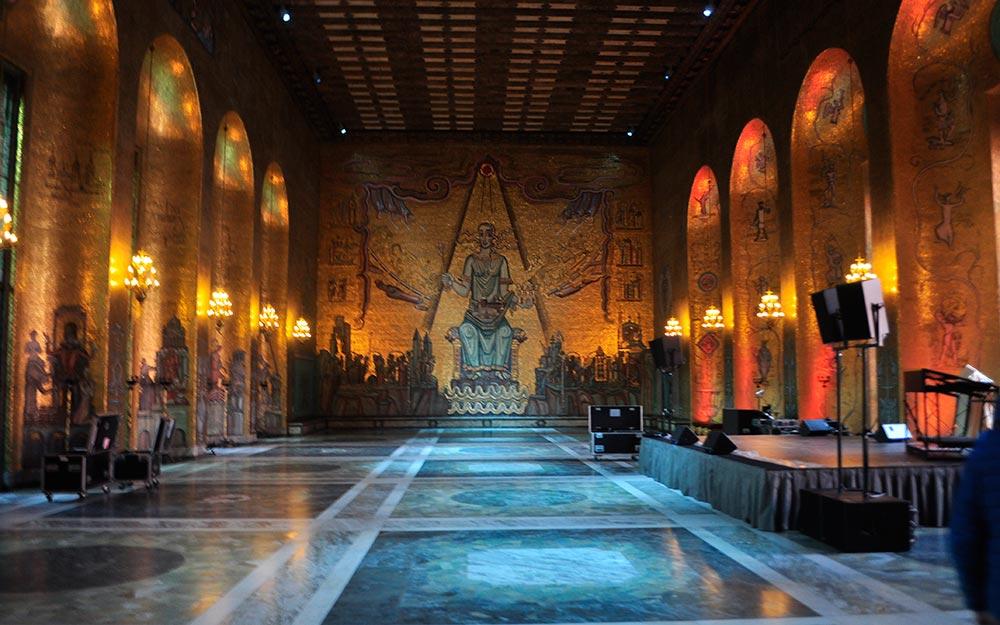 viaje a Estocolmo. Palacio del Ayuntamiento, el Salón Dorado